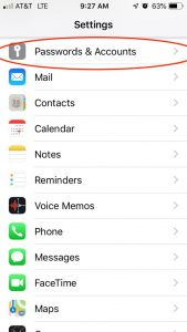 """The Settings screen on an iPhone with """"Passwords & Accounts"""" circled in red"""