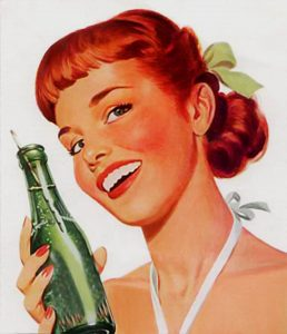 An old-fashioned ad features a teen girl in a bathing suit holding a bottle of soda in a green glass bottle