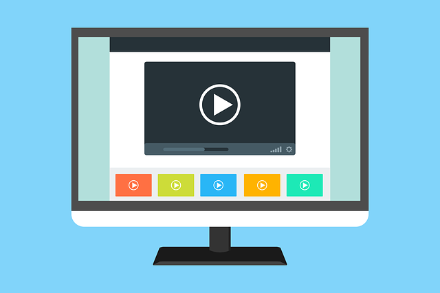 An illustration of a computer monitor with a video play button on the screen.