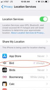 On the Location Services screen, select an app for which you want to disable location tracking. Here the app called Bird is circled.