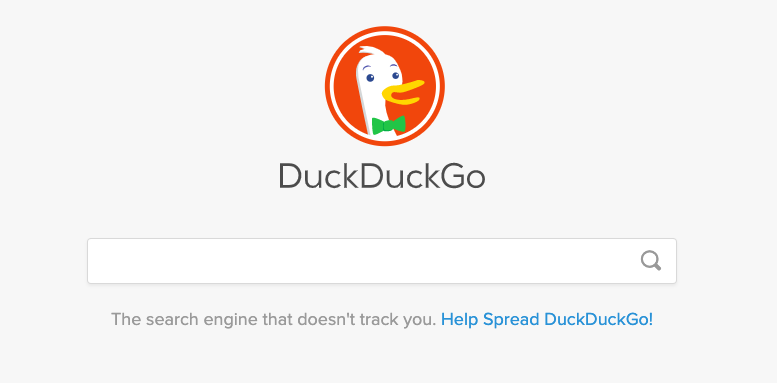 The DuckDuckGo browser shown here is designed for maximum privacy