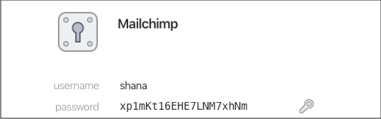 The image shows a unique and strong password generated to log into Mailchimp using the 1Password tool.