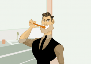 A cartoon of a man brushing his teeth. Just like we brush our teeth every day, the best way to bridge a digital skills gap is to develop a daily digital habit and brush up on our digital skills.